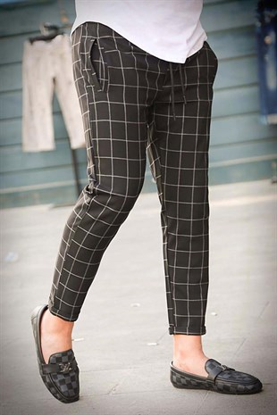 Madmext Black Checked Trouser 4062