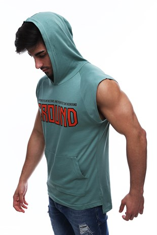 Madmext Green T-shirt with Hood for Men 2859