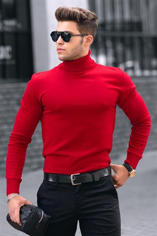 Madmext Red Jumper with Roll Neck 4656