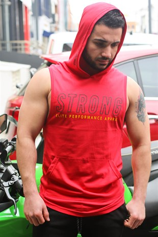 Sleeveless T-Shirt In Hooded Red 2992