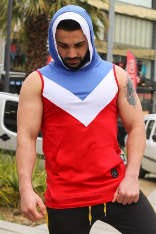 Sleeveless T-Shirt In Hooded Red 2897