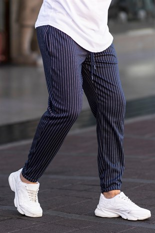 Madmext Navy Blue Striped Jogger Trouser 4822