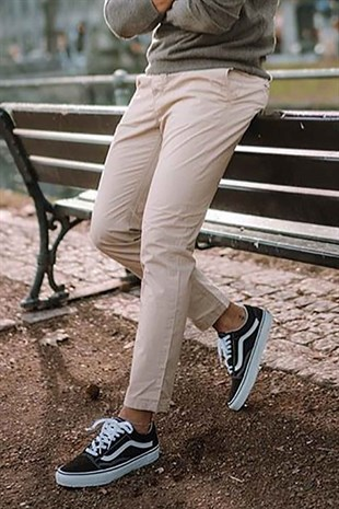 Madmext Cream Trousers 2176