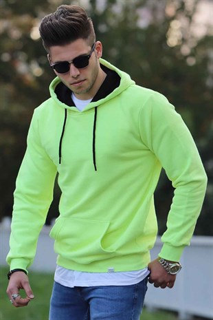 Madmext Neon Green Basic Hoodie 4158