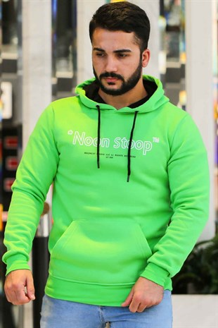 Madmext Neon Green Printed Hoodie 4157