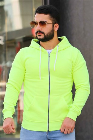 Madmext Neon Green Zipper Detailed Hoodie 4156