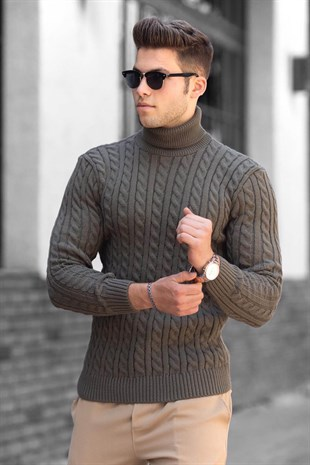 Madmext Brown Jumper with Roll Neck 4654
