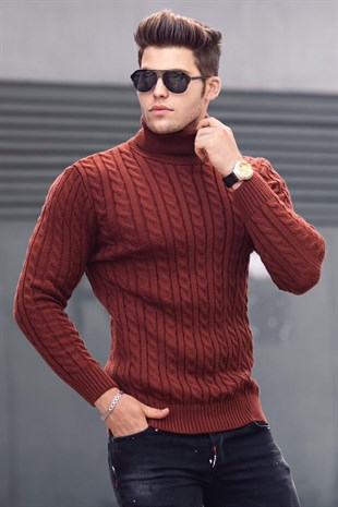 Madmext Claret Red Roll Neck Jumper 4654