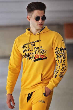 Madmext Yellow Printed Hoodie 4176
