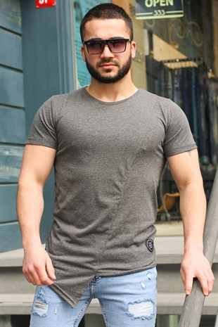 Madmext Grey T-shirt for Men 3040