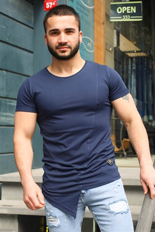 Madmext Navy Blue Printed T-shirt for Men 3040