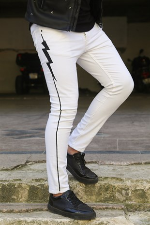 Madmext White Patterned Slim Fit Jean OTN5023
