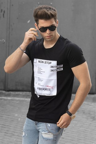 Madmext Black Printed T-shirt 2529