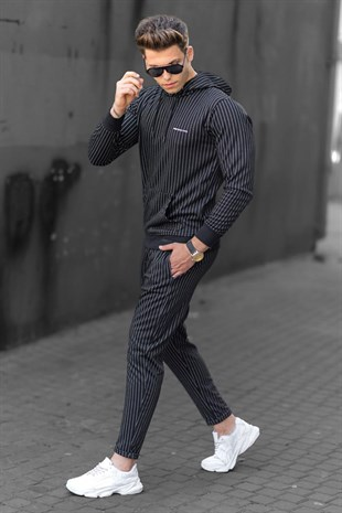 Madmext Black Striped Tracksuit 48224692-2