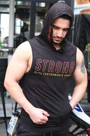 Sleeveless T-Shirt In Hooded Black 2992