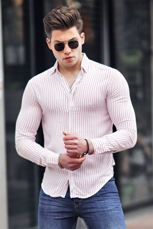 Madmext White Striped Slim Fit Shirt  9215
