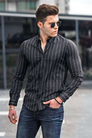 Madmext Black Striped Slim Fit Shirt 9213