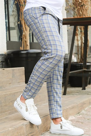 Madmext Blue Slim Fit Checked Trousers 4037