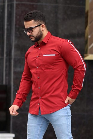Madmext Red Slim Fit Shirt 4142