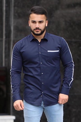 Madmext Slim Fit Lacivert Gömlek 4142