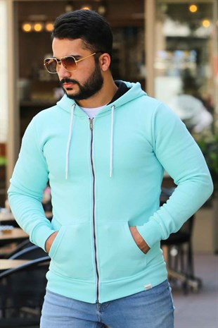 Madmext Turquois Zipper Detailed Hoodie 4156