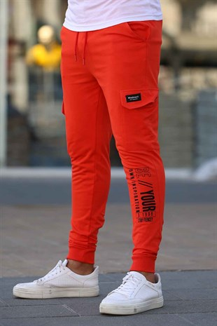 Madmext Orange Printed Sweatpants 4079