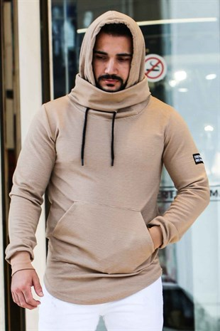 Madmext Camel Collar Detailed Hoodie 4121