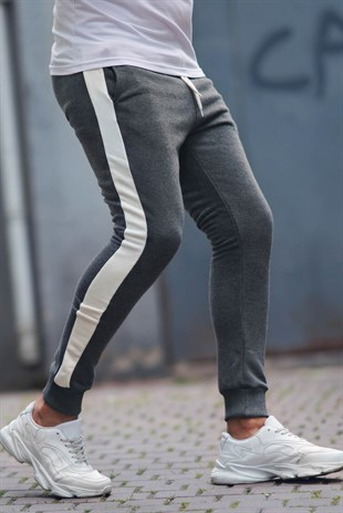 Madmext Grey-White Striped Sweatpants 9284