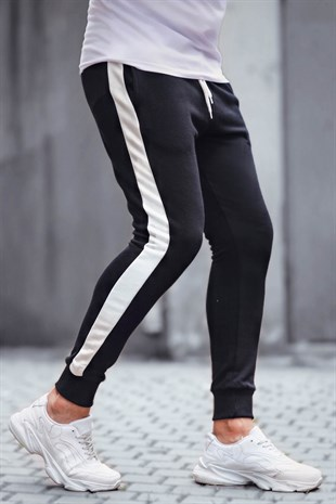 Madmext Black-White Striped Sweatpants 9284