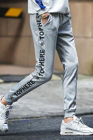 Mens Sweatpants In Striped Design Grey Color 2930