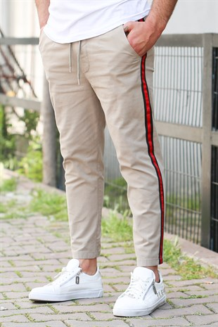 Madmext Cream-Red Striped Trousers  4075