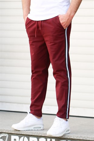 Madmext Claret Red-White Striped Trousers 4075