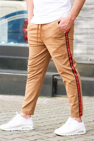 Madmext Camel-Red Striped Trousers 4075