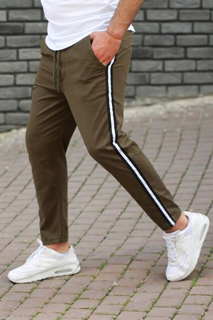 Madmext Khaki-White Striped Trousers 4075