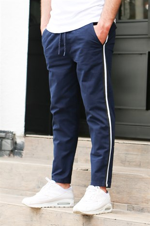 Madmext Navy Blue-White Striped Trousers 4075