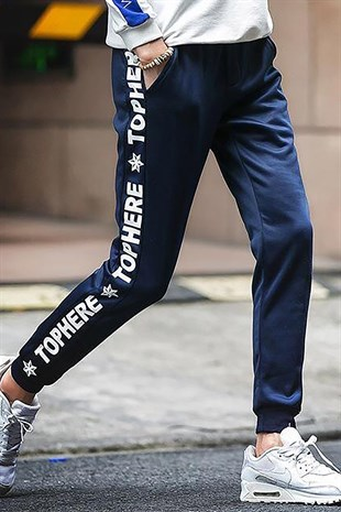 Mens Sweatpants In Striped Design Dark Blue Color 2930