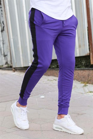 Mens Sweatpants In Striped Design Purple Color 2926
