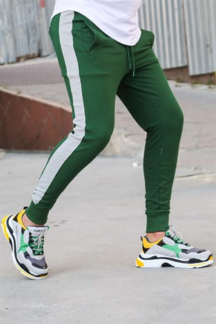 Mens Sweatpants In Striped Design Green Color 2926
