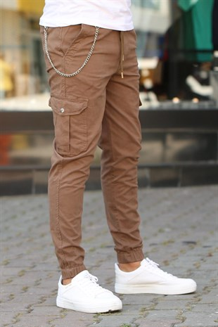 Madmext Brown Cargo Trousers 4073