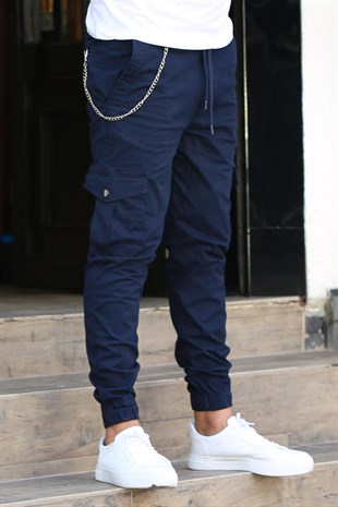 Madmext Navy Blue Cargo Trousers  4073