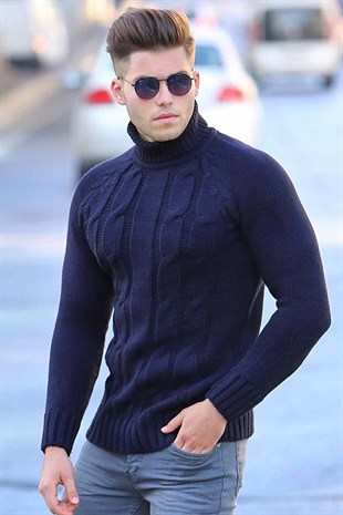 Madmext Navy Blue Turtleneck Knitting Jumper 2805