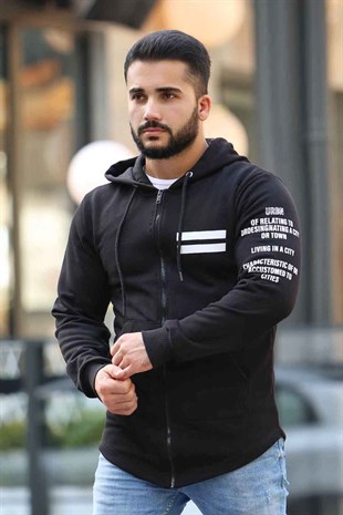 Madmext Black Zipper Detailed Hoodie 4144