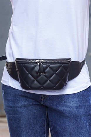 Guard Black Leather Shoulder Bag GRD335