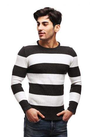 Madmext White Striped Crewneck Jumper TC1410