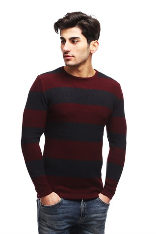 Madmext Claret Red Striped Crewneck Jumper TC1410