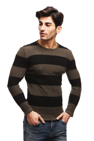 Madmext Khaki Striped Crewneck Jumper TC1410