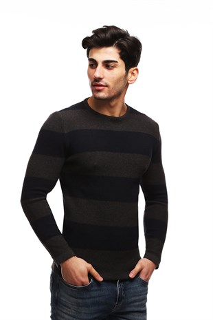 Madmext Navy Blue Striped Crewneck Jumper TC1410