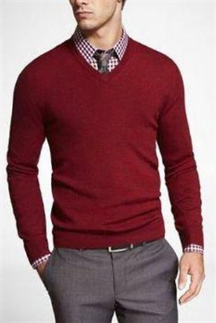Madmext Claret Red V-necked Knitting Jumper TC1602