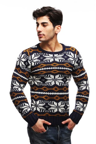 Madmext Indigo Patterned Crewneck Jumper TC3422