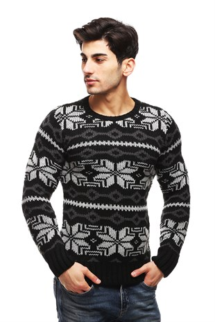 Madmext Black Patterned Crewneck Jumper TC3422